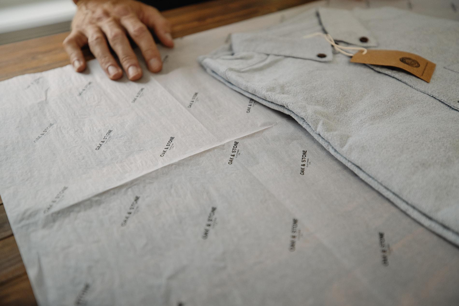 Oak & Stone Shirt with custom tissue paper