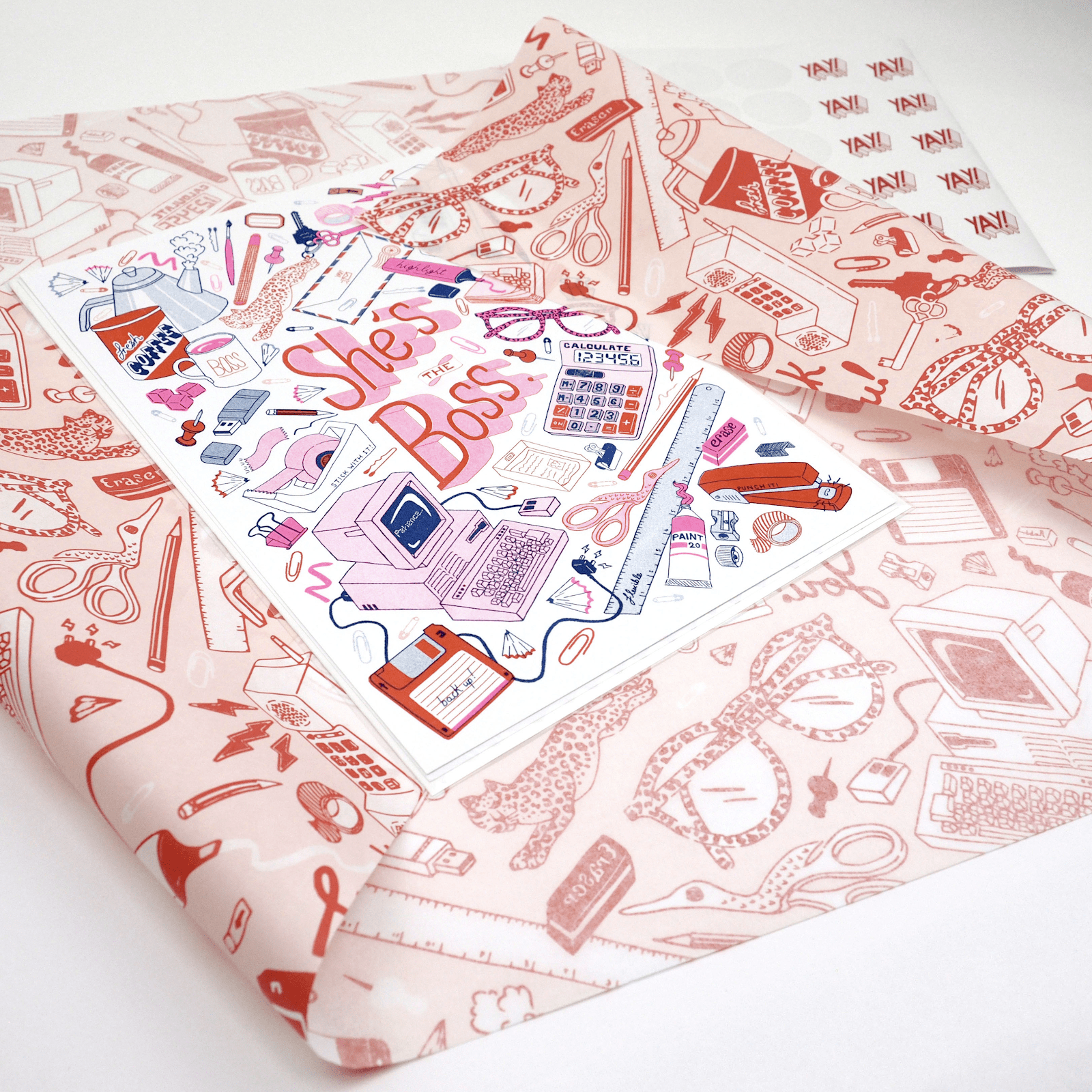 Heavily illustrated tissue paper design by Jacqueline Colley