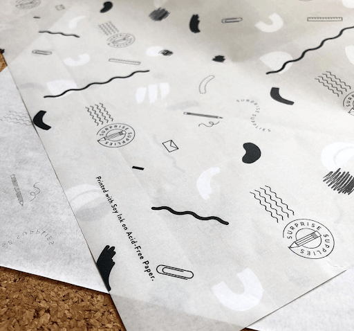 noissue custom tissue paper, acid-free and printed with soy-based inks