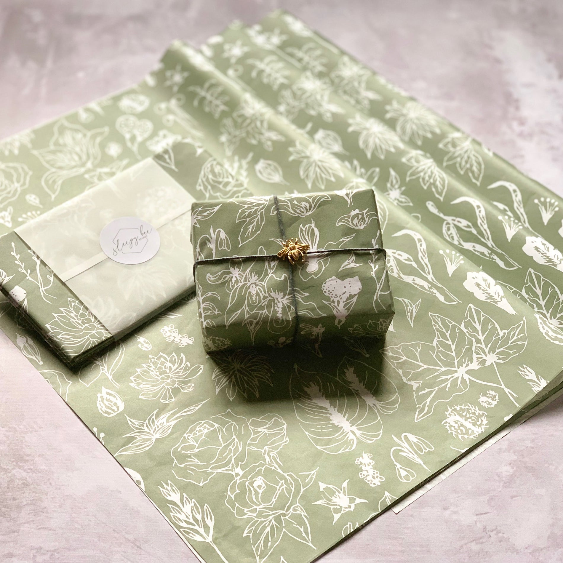 Sleepy Bee Studio Botanical custom tissue paper design