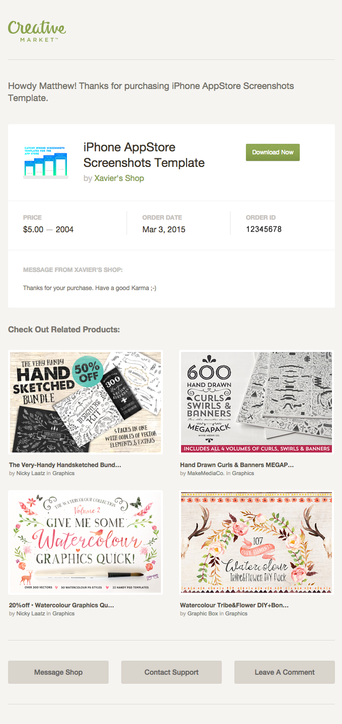 Creative market product recommendations