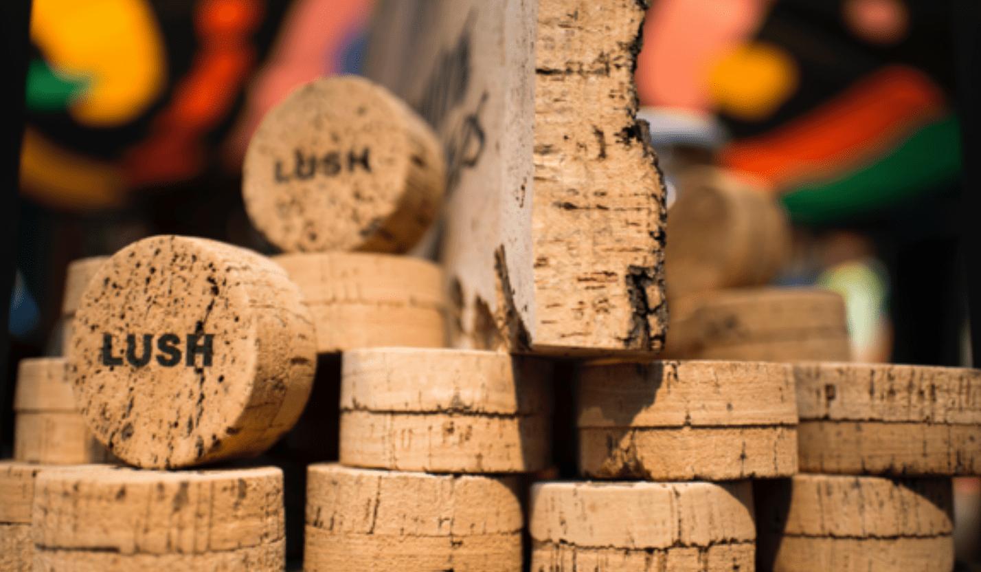 Lush Cosmetics cork packaging