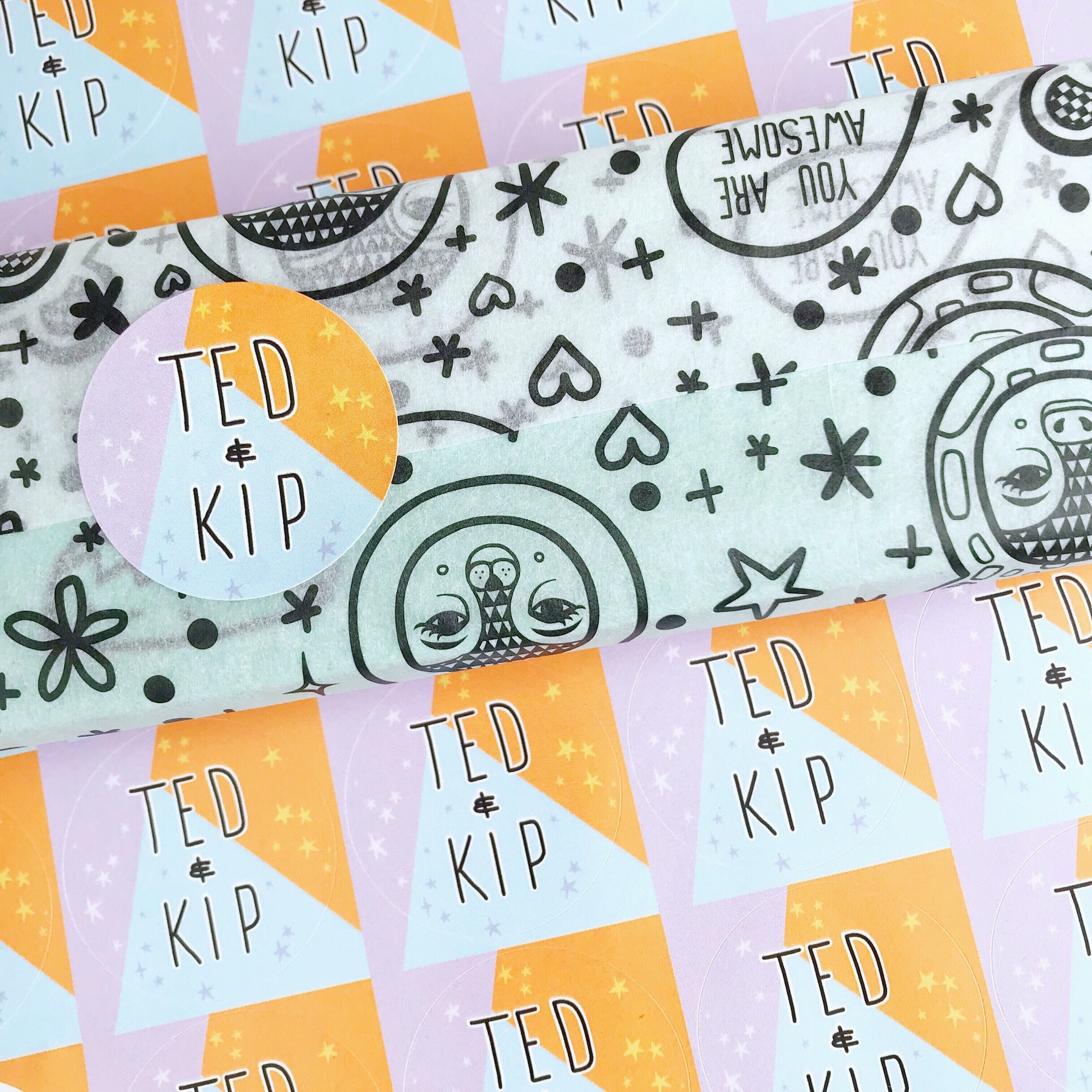 Ted & Kip custom tissue paper and custom sticker